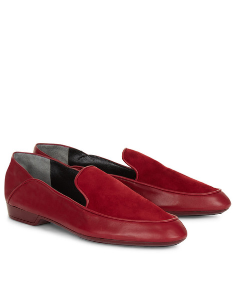 Cherry Leather & Suede Fani Loafers