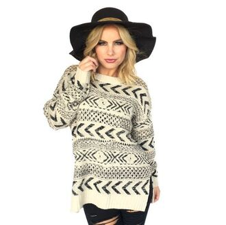 sweater black white aztec