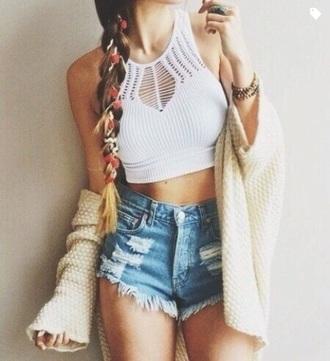 top crochet halter top summer tank top crop tops shorts cardigan