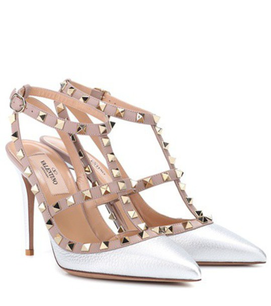 Valentino pumps leather silver shoes
