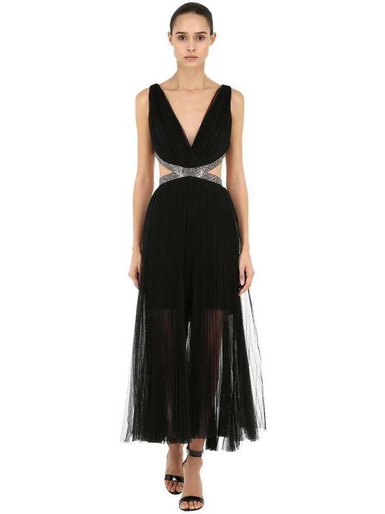 MARIA LUCIA HOHAN Pleated Tulle Midi Dress W/embellishment in black