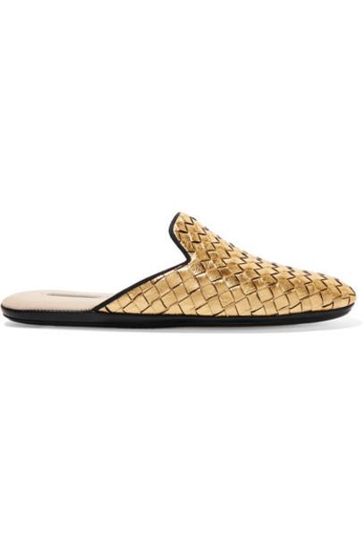 Bottega Veneta metallic slippers gold leather shoes