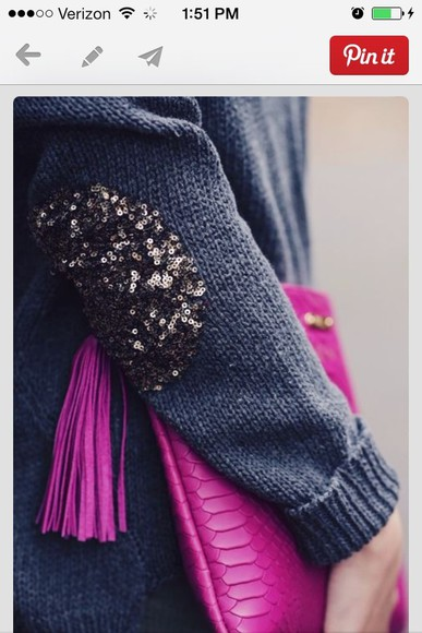 sweater sequins elbow patches grey sweater