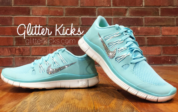 size 40 14a70 abd79 Bling Nike Free Run 5.0 Tiffany Blue Blinged Out Shoes - Glitter Kicks  Bling Nikes With Swarovski Crystal Rhinestones Blinged Shoes