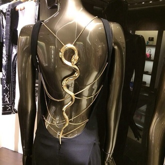 snake dress little black dress gold chain backless low back black dress little black dress élégant