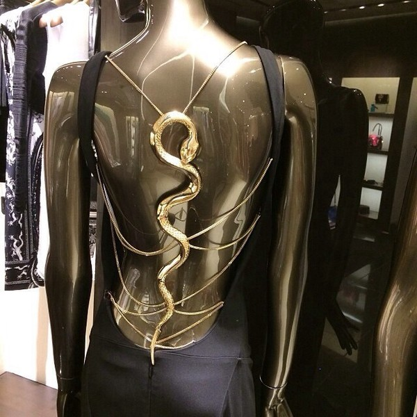 dress little black dress snake gold chain open back low back black dress elegant