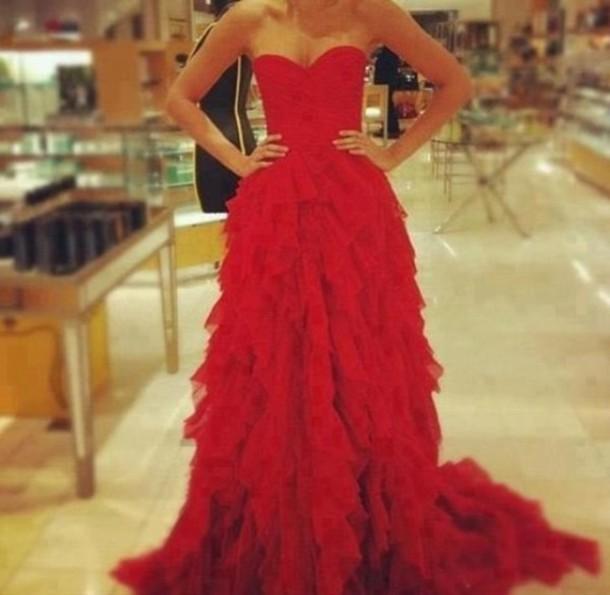 Custom made red a line sweetheart court train prom dresses, formal dresses, graduation dresses