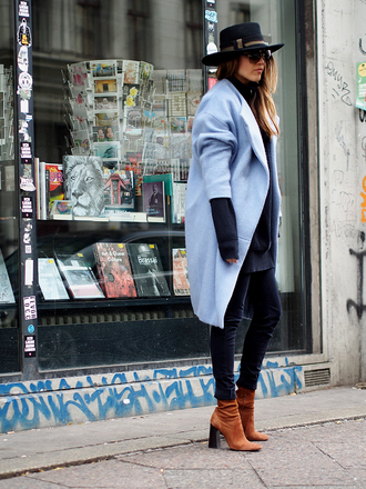 - it's a blog. blogger blue coat light blue thick heel black hat thick heel boots
