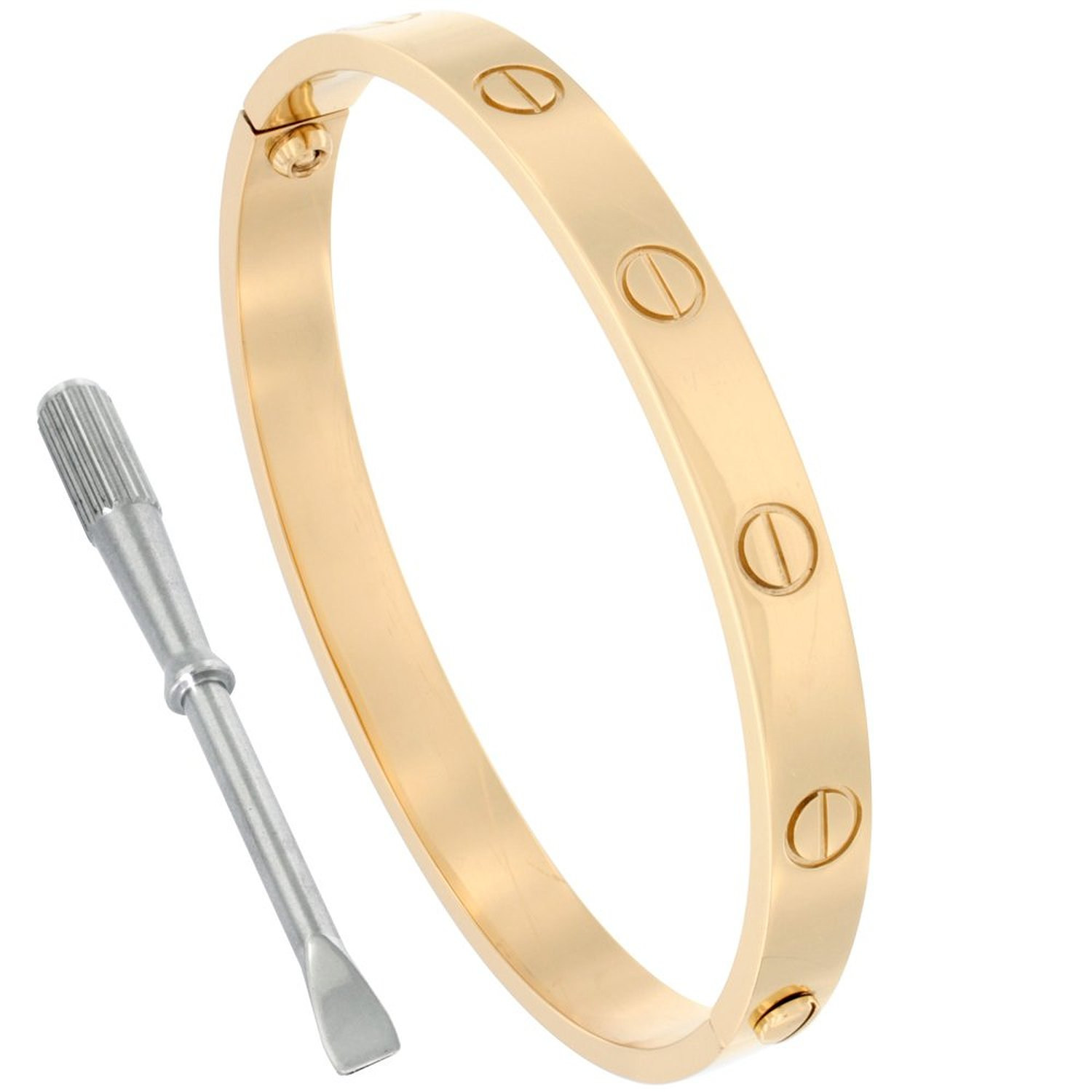 Amazon.com: Stainless Steel Screw Head Bangle Bracelet for Women Oval Gold tone 7mm wide, fits 7 1/2 inch wrists: Jewelry