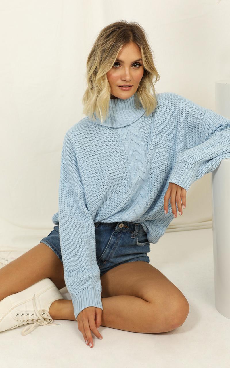 Showpo Slight Suggestion knit jumper in blue - 8 (S) Knit Tops
