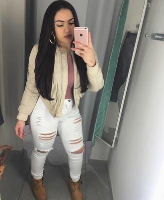 pants kaygoldi fashion nova white ripped jeans bomber jacket burgundy shirt timberlands mirrior selfie bodied $$$$