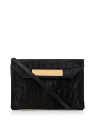 hair clutch crocodile black bag