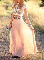 skirt,maxi skirt,pink,belt,waist belt,cute,dress,crop tops,peach,maxi,blue,indigo,beach,boho,bohemian,girl,perfect,long skirt,clothes,chiffon,crop,flowy,clutch,jewels,spring skirt,crop-top,t-shirt,crochet,bra top,sun,outfit,maux dress,maxi dress,shoes,shirt,pink skirt