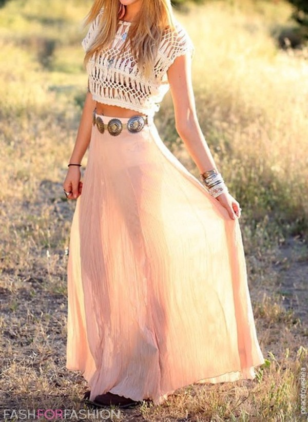 skirt maxi skirt pink belt waist belt cute dress crop tops peach maxi blue indigo beach boho bohemian girl perfect long skirt clothes chiffon crop flowy clutch jewels spring skirt crop-top t-shirt crochet bra top sun outfit maux dress maxi dress shoes crop tops shirt pink skirt