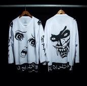 jacket,black and white,japanese,sweater,anime,shirt,t-shirt,manga,otaku,kawaii,cool,pale,vaporwave,seapunk,japan,japanese style,cyber punk,swag,indie,grunge,cartoon,white sweater,long sleeves,long sleeve shirt,white long sleeve shirt,clothes,horror