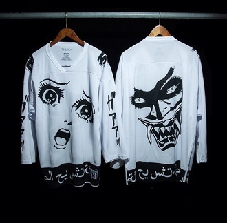 jacket black and white japanese sweater anime shirt t-shirt manga otaku kawaii cool pale vaporwave seapunk japan japanese style cyber punk swag indie grunge cartoon white sweater long sleeves long sleeve shirt white long sleeve shirt clothes horror japanese fashion white