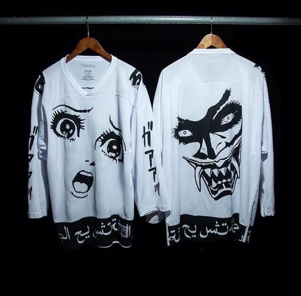 Jacket Black And White Japanese Sweater Anime Shirt T Shirt Black And White Manga Otaku