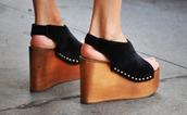 shoes,black,high heels,platform shoes,wooden heel
