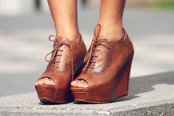 shoes wedges oxfords pinterest brown leather brown laces peep toe boots