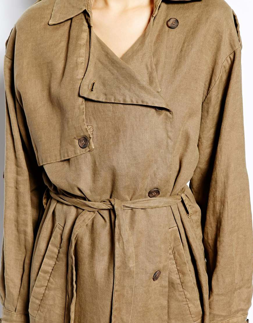 Selected Tenne Trench Coat in Linen at asos.com