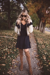 cara loren,blogger,jacket,dress,shoes,sunglasses,bag,winter outfits,boots,over the knee boots