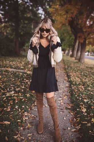 cara loren blogger jacket dress shoes sunglasses bag winter outfits boots over the knee boots