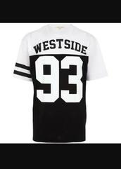shirt,west,westside 93,westside,black and white,top,tumblr shirt,t-shirt