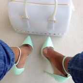 shoes,pumps,turquoise,heels,high heels,hot,sexy,stilettos,bag,teal,clear,mint,mint heels,506697,turquoise blue,handbag,white handbag,bling,studs,debout,mint green shoes,louboutin,high heel pumps,pointed toe pumps,sea. foam green heels