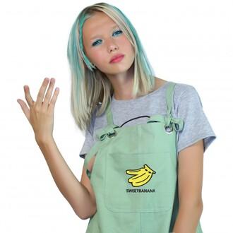 jumpsuit banana print green summer overalls spring teenagers cool boogzel