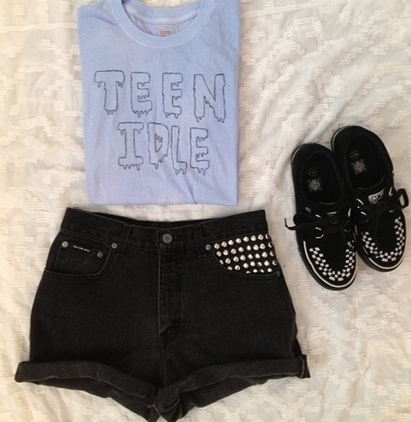 shoes shorts t-shirt teen idle High waisted shorts hipster t-shirt studded shorts shirt blouse