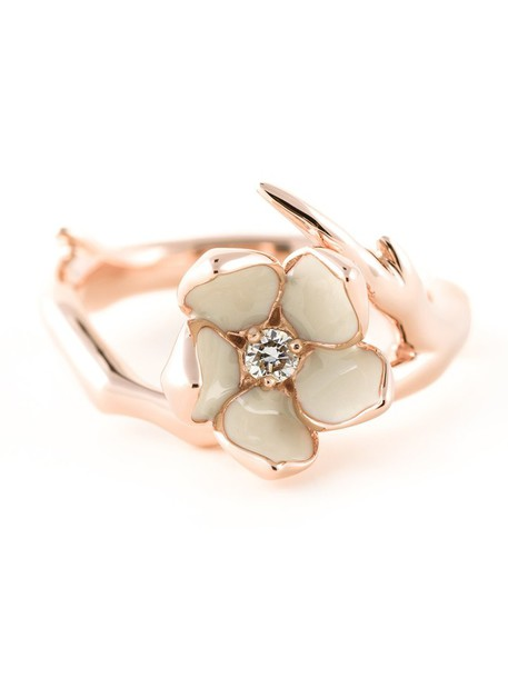 SHAUN LEANE diamond ring cherry women ring silver grey metallic jewels
