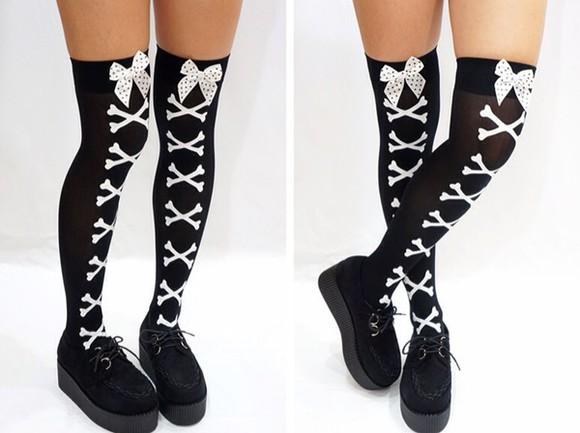 black bows socks pastel goth skeleton goth hipster goth gothic lolita black socks