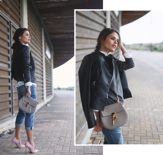 seams for a desire blogger jewels bag cropped jeans grey bag leather jacket pink heels