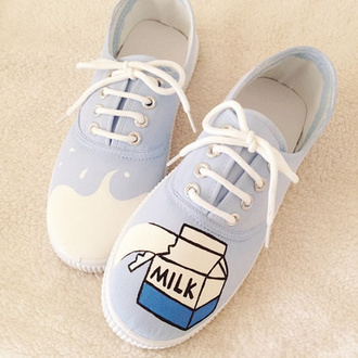 shoes milk blue cute fashion style kawaii footwear lace up vans japanese fashion back to school