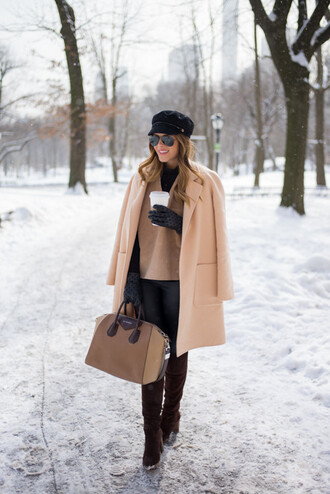 gal meets glam blogger gloves handbag fisherman cap camel coat coat top pants shoes bag hat