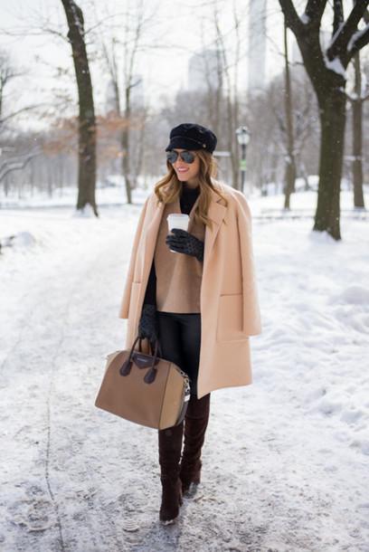 gal meets glam blogger gloves handbag fisherman cap camel coat coat top pants shoes bag hat