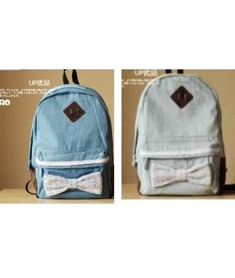 bag cute bows denim retro backpack
