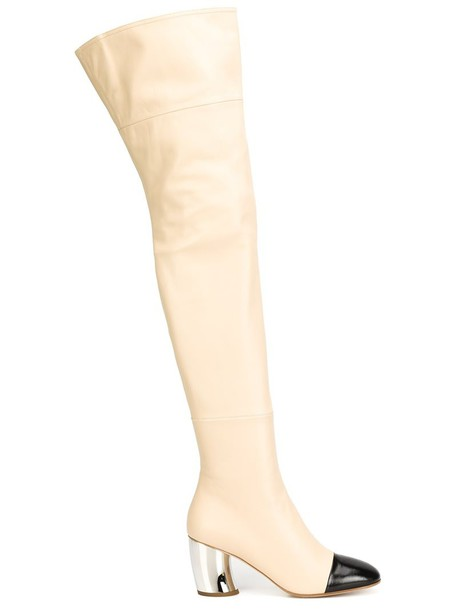 Proenza Schouler high women boots thigh high boots leather purple pink shoes