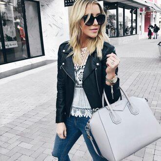 gbo fashion blogger top jacket jeans bag handbag givenchy bag givenchy black leather jacket white top spring