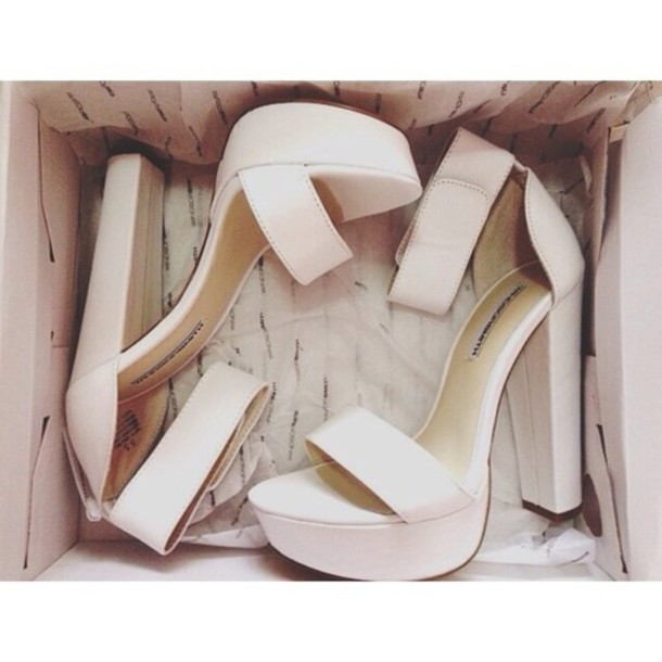 Shoes: heels platform shoes white straps chunky heel high