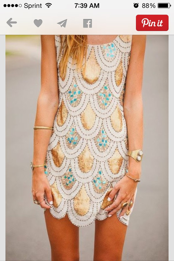 scalloped dress sequin dress tank top dress blouse cardigan jewels