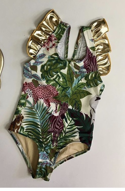 swimwear jungle pattern gold ruffle