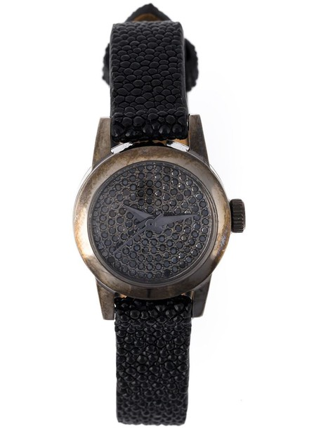 Christian Koban - 'Cute' diamond watch - women - Leather/Black Diamond/stainless steel - One Size
