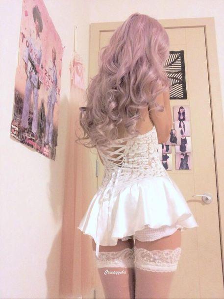 dress lingeie dress coset dress floral lace lingerie white dress lace dress thigh highs