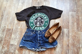 skirt cool starbucks coffee t-shirt clothes shorts shoes shirt black leopard print green white pretty black t-shirt girly casual casual simple printed tee casual shirt vintage girl's clothes levis shorts cute star bucks