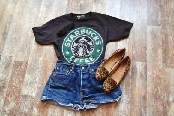 starbucks t-shirt clothes girl's clothes starbucks shirt black girly vintage pretty black t-shirt casual casual simple printed tee casual outfit casual shirt casual look shorts skirt cool shoes shirt green white leopard levis shorts