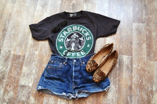 skirt cool starbucks coffee t-shirt clothes shorts shoes shirt starbucks coffee black leopard print green white pretty black t-shirt girly casual printed t-shirt casual casual shirt casual vintage levi's shorts starbucks coffee cute leopard print starbucks coffee black and white hipster tumblr girl tumblr clothes slip on shoes brown shoes print star bucks hipster tumblr swag top graphic tee tumblr shirt tumblr outfit