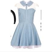 blue dress,denim dress,lace dress,dress,bleu,cute dress,robe,dentelle