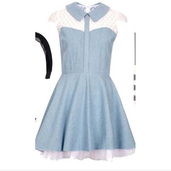 denim dress blue dress lace dress