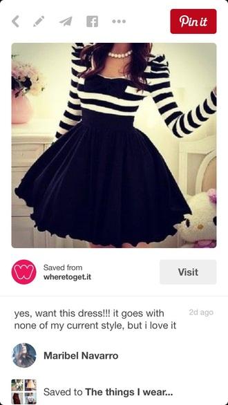 dress stripes black long sleeves tulle skirt black bow short dress top